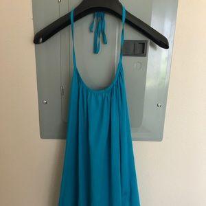 Rant Brook Turquoise Silk Halter.  Size S